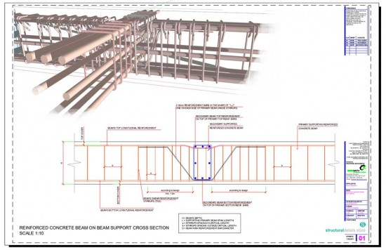 Secondary Concrete Beam Supported on Primary Beam Cross Section Detail