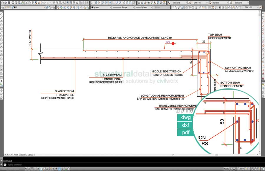 Rcc Beam Detailing : Reinforcement detail of a downstand concrete beam lintel