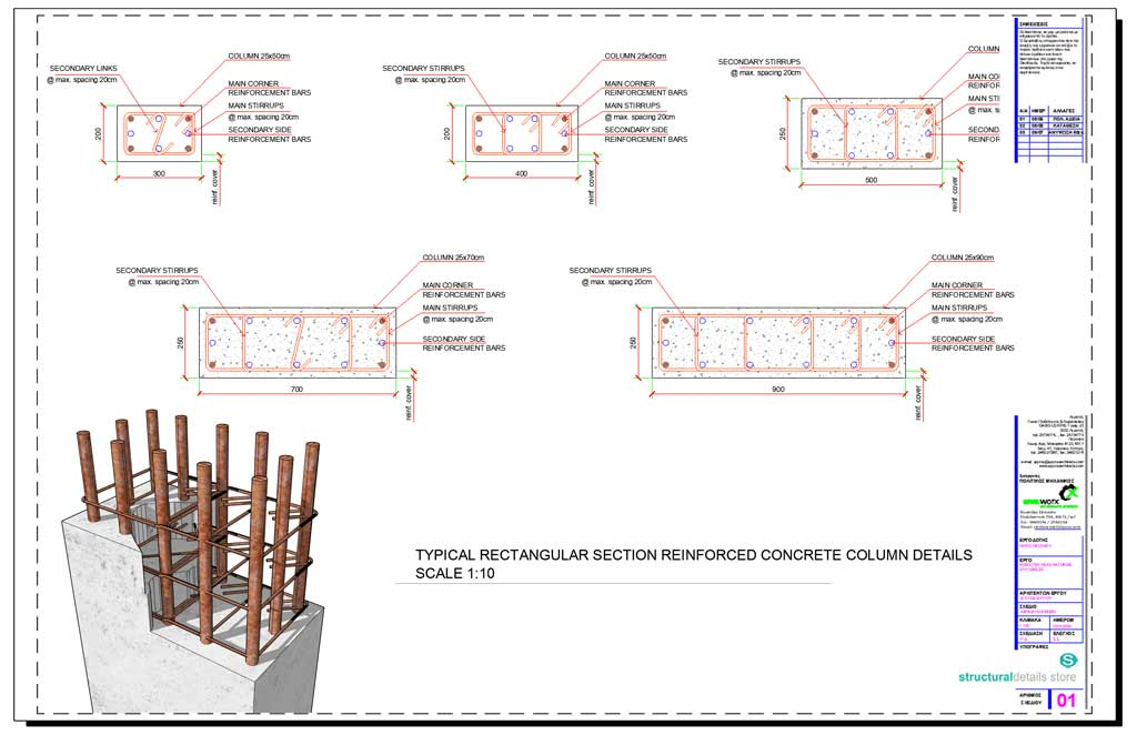 Rectangular Reinforced Concrete Column Section Details