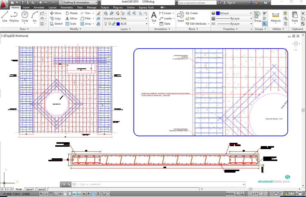 Shear Wall with Void Openings Reinforcement Details