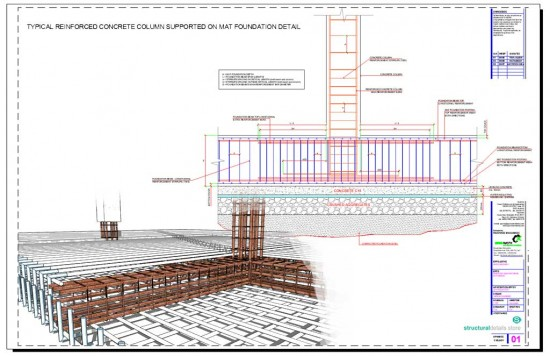 Reinforced Concrete Column Supported on Mat Spread Foundation