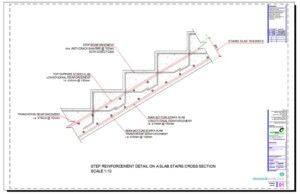 Step Reinforcement Detail on a Slab Stairs Cross Section