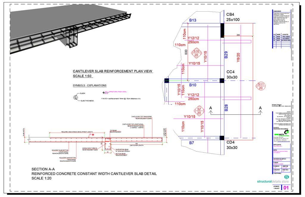 Reinforced Concrete Constant Width Cantilever Slab Detail