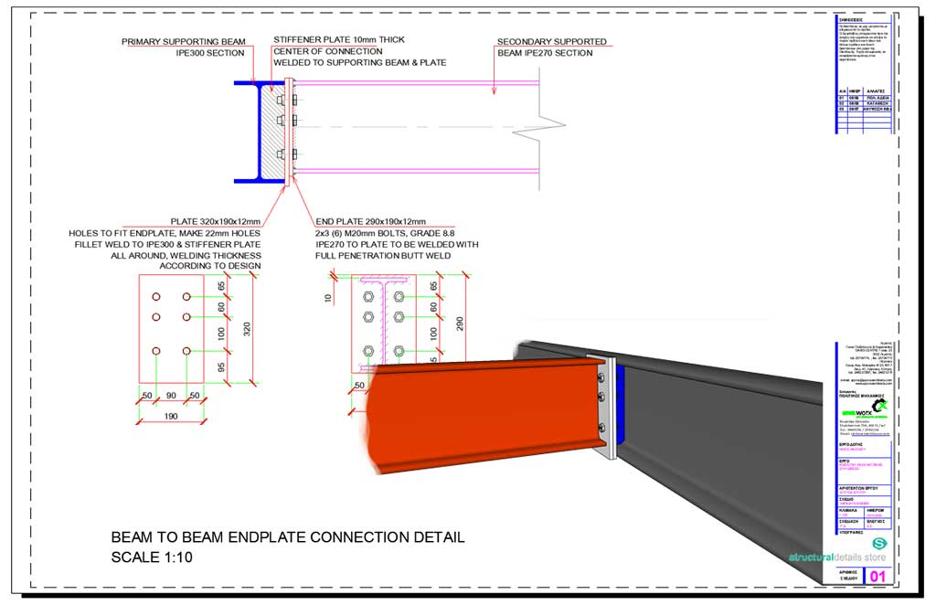 Beam to Beam Endplate Steel Connection Detail