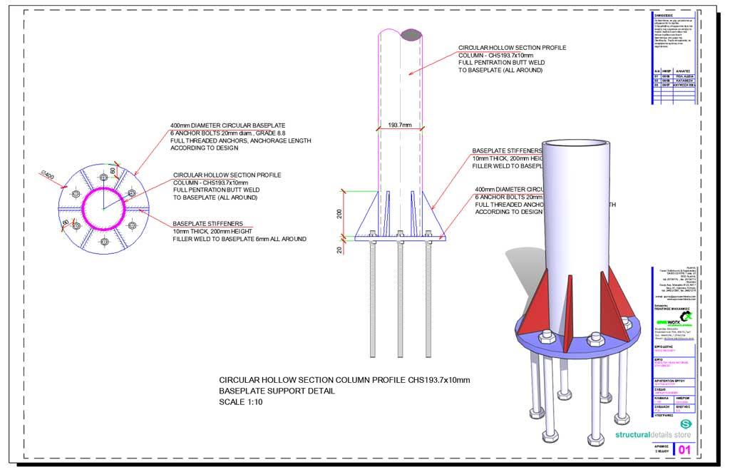 Circular hollow section CHS Column Baseplate Detail