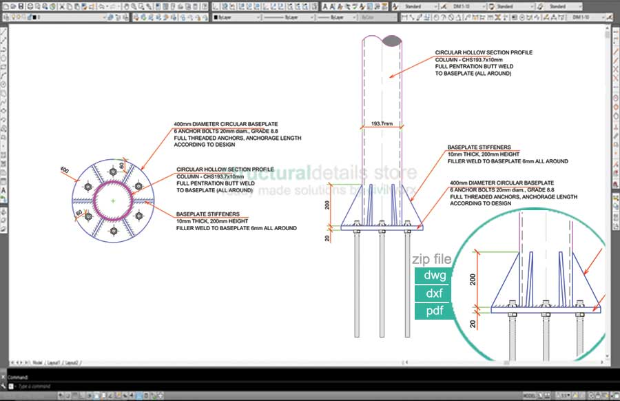 Base Plate Section Drawing Related Keywords & Suggestions - Base