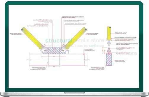 Vertical Diagonal CHS V Bracing Connection