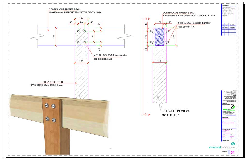 Continuous Timber Beam Supported on Top of Timber Column