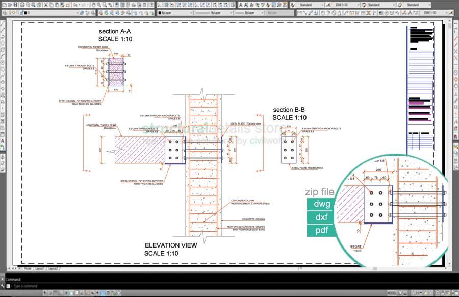 Horizontal Timber Beam Connection to Concrete Column