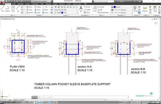 Pocket Sleeve Baseplate for Square Timber Column