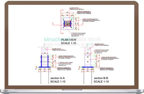 Timber Column Two Sides Baseplate Support