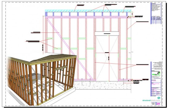 Timber Load Bearing Wall Frame with Door Opening Detail