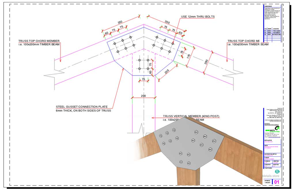 Timber Truss Steel Gusset Plate Member Connection
