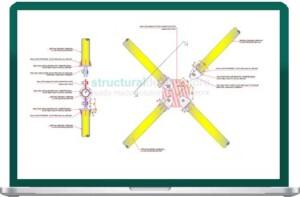 Vertical Diagonal CHS X Bracing Center Connection