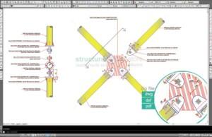 Vertical Diagonal CHS X Bracing Center Connection Detail