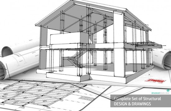 Complete structural design drawings for a reinforced concrete house