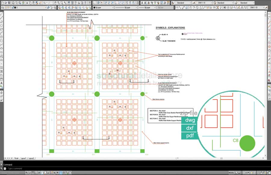 Waffle slab plan view reinforcement detail for Concrete slab plans