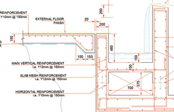 Infinity type swimming pool retaining wall with catch pool detail for Structural design of swimming pool pdf