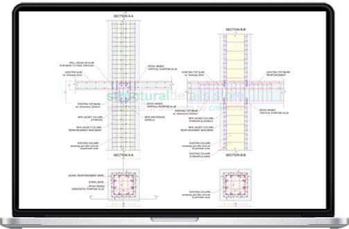 Discontinued Floor to Floor Column Jacketing Reinforcement Detail