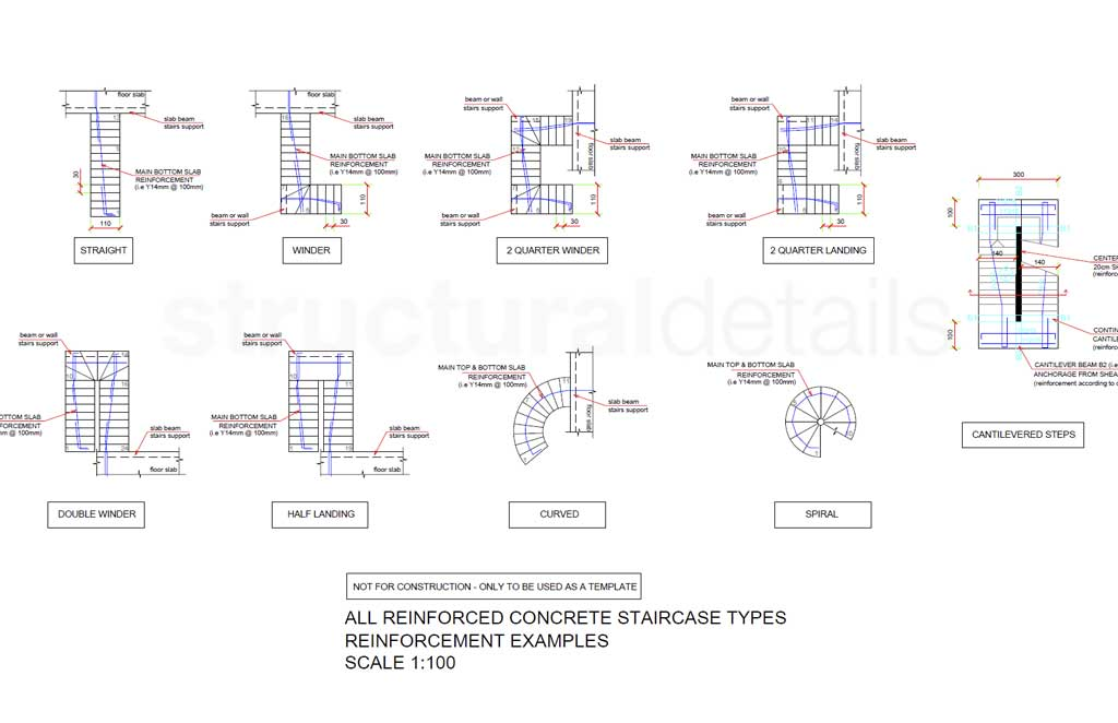 All types of reinforced concrete stairs reinforcement plan views