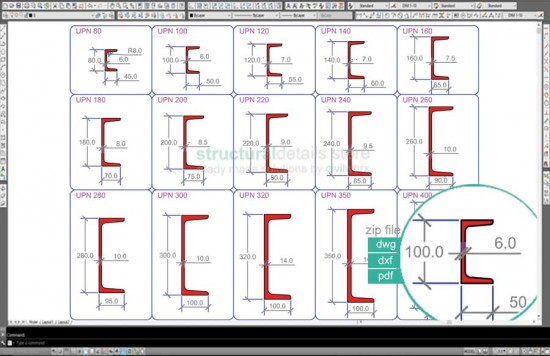 European Standard Channel UPN Steel Sections dwg CAD drawings