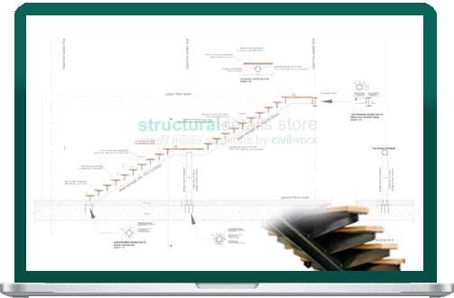 Single CHS Stringer Straight Single Flight Steel Staircase Detail