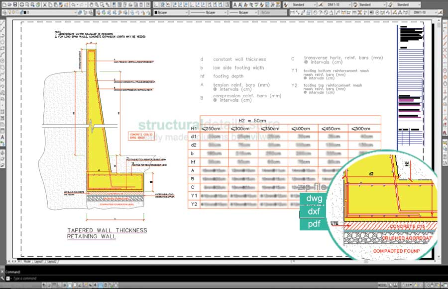 tapered wall thickness retaining wall design - Design Of A Retaining Wall