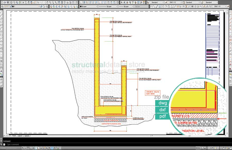 Double Stepped Retaining Wall Drawing Detail