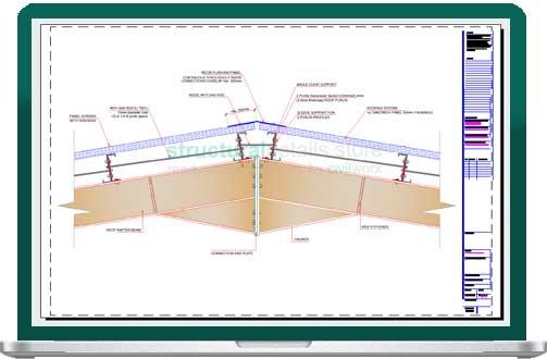 Cad Drawing Roof Sandwich Panels : Steel hangar portal frame roof ridge detail