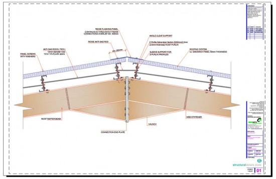 Steel Hangar Portal Frame Roof Ridge Detail