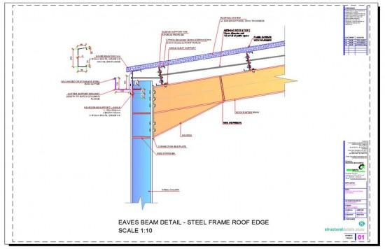 Steel Hangar Portal Frame Roof Eaves Beam Detail