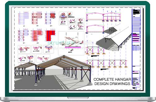 Steel Frame Hangar Complete Design Drawings