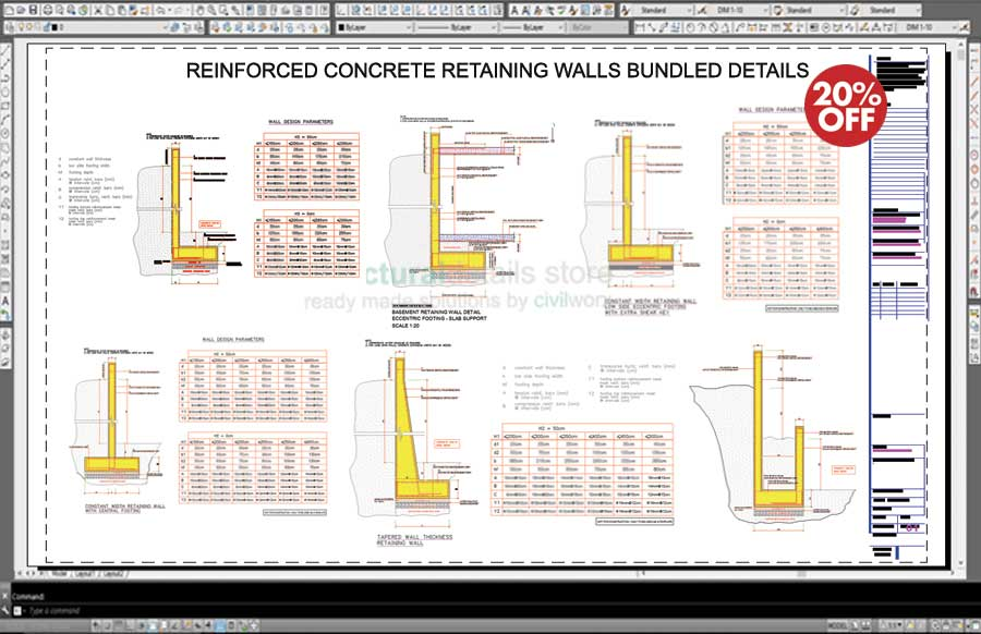 Design Concrete Retaining Wall poured concrete Reinforced Concrete Retaining Walls Bundled Drawing Details