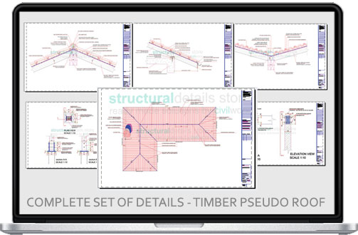 Complete construction details for pseudo timber roof