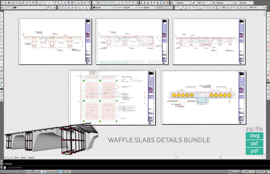 Waffle Slabs Bundled Set of Details