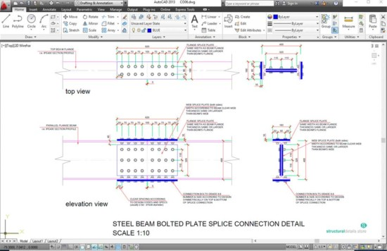 Steel Beam Bolted Plate Splice Connection Detail Drawing
