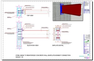 Steel Beam Reinforced Concrete Wall Endplate Moment Connection