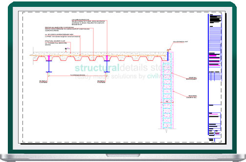 Steel Decking Floor Supported on Reinforced Concrete Wall