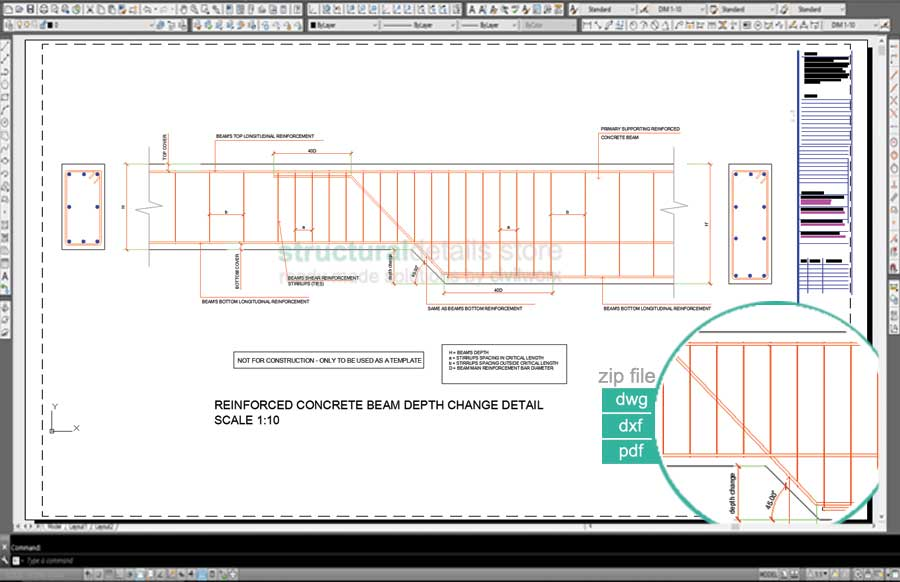 Rcc Beam Detailing : Reinforced concrete beam depth change detail