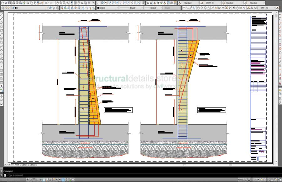 Reinforced Concrete Tapered Alternating Width Variable Size Column Details