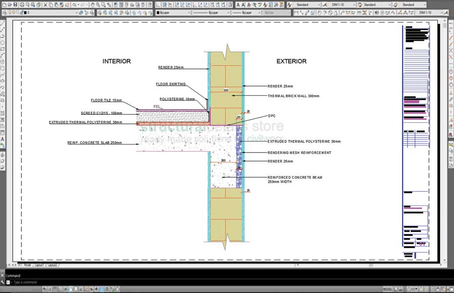 Reinforced Concrete Slab Beam Exterior Brick Wall Thermal Insulation Detail