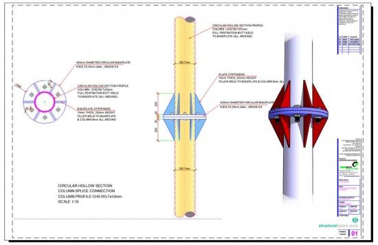 Circular Hollow Section CHS Column Splice Connection Detail
