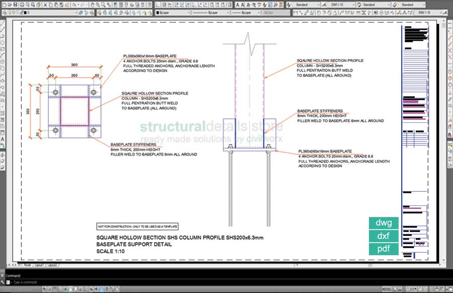 Square hollow section shs column baseplate detail drawing