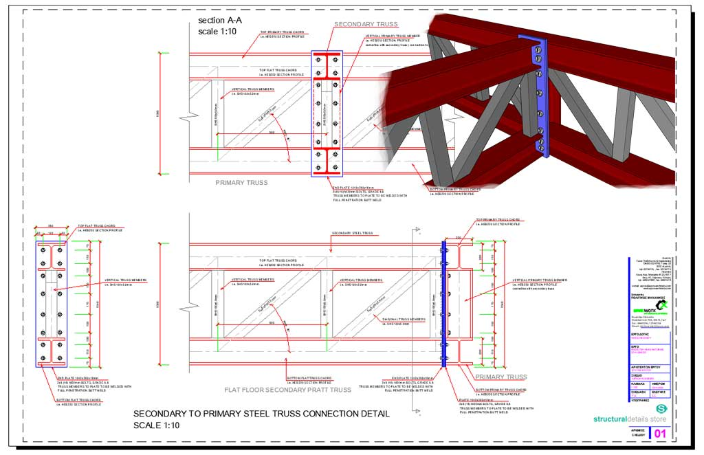 Secondary to Primary Steel Truss Connection Detail