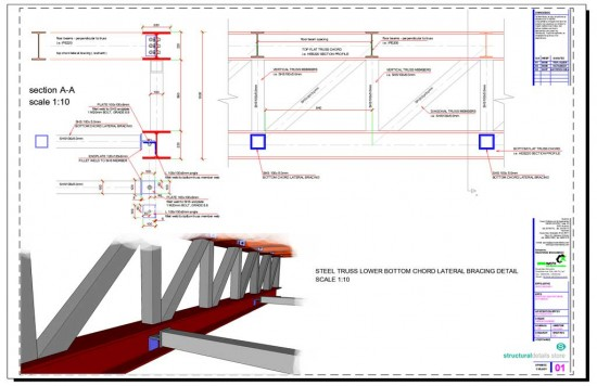 Steel Truss Lower Bottom Chord Lateral Bracing Restraint Detail