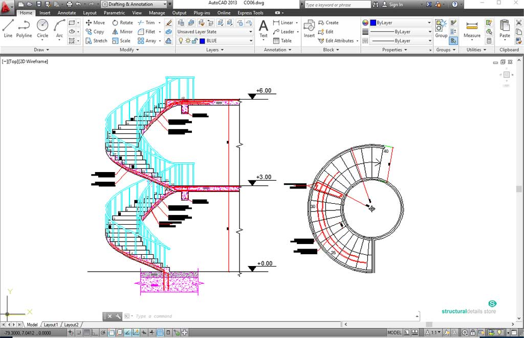 Reinforced Concrete Spiral Helical Staircases Reinforcement Details