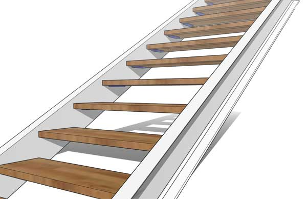 Double Stringer Steel Staircase Detail with Concealed Tread Step