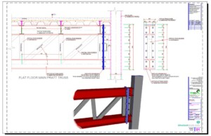 Steel Floor Flat Pratt Truss Support to SHS Column