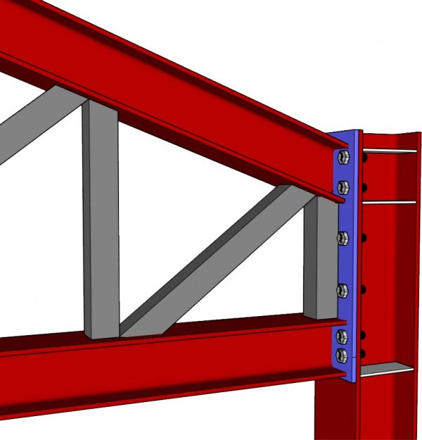 Inclined Roof Steel Truss Connection to HEB Column