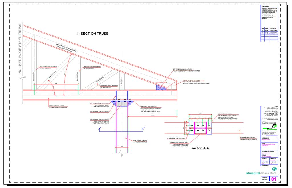 Roof Steel Truss Column Overhang Connection Detail